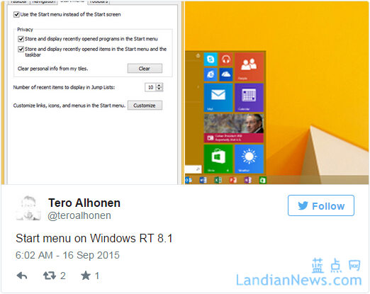 微软向Windows RT用户推送Windows 8.1 Update 3更新 开始菜单来了