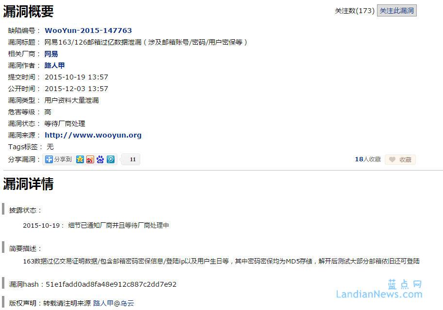 快讯:乌云平台宣布发现网易邮箱新漏洞将导致过亿数据泄露