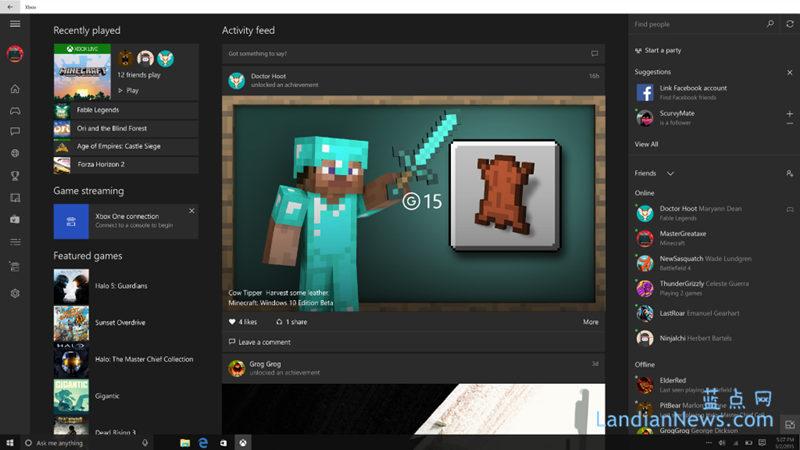 微软更新Windows 10 Xbox Beta版 增加社交网络连接功能
