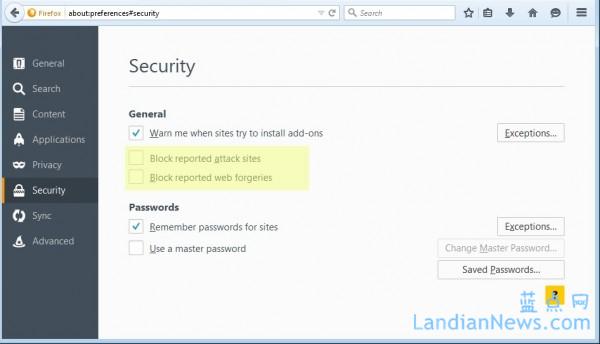 广告软件偷偷关闭Mozilla Firefox的安全浏览功能