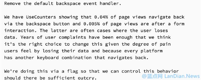 Google Chome开始测试禁用掉BackSpace退格键返回上一页