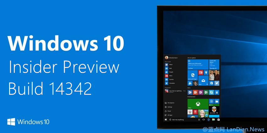 微软向Slow Ring用户推送Windows 10 Build 14342版更新 附镜像下载