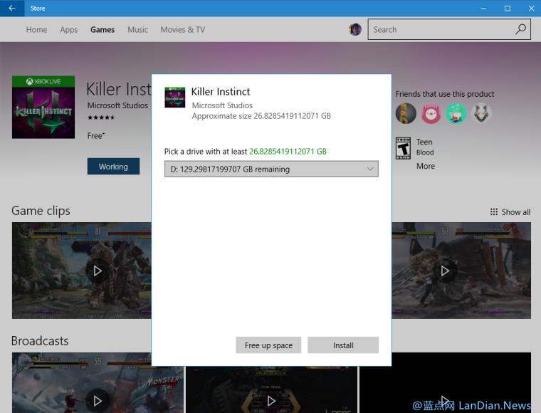Windows 10 应用商店在下载大型游戏时开始弹出对话框让用户选择安装位置
