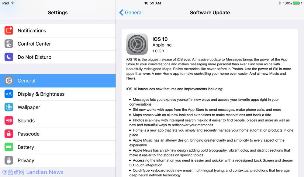提醒:建议使用iTunes而不要使用无线OTA方式升级iOS 10
