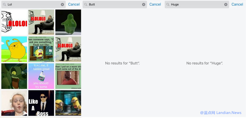 大写的尴尬:iMessage信息应用的贴图搜索功能竟然搜索到了...