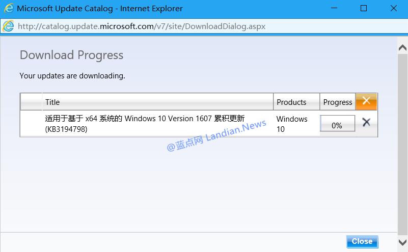[下载]Windows 10累积更新补丁KB3194798发布 附独立更新包