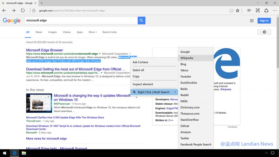 开发者为Microsoft Edge增添右键搜索功能增强扩展程序