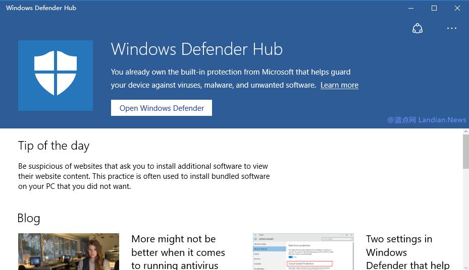 微软发布自家安全软件配套应用Windows Defender Hub