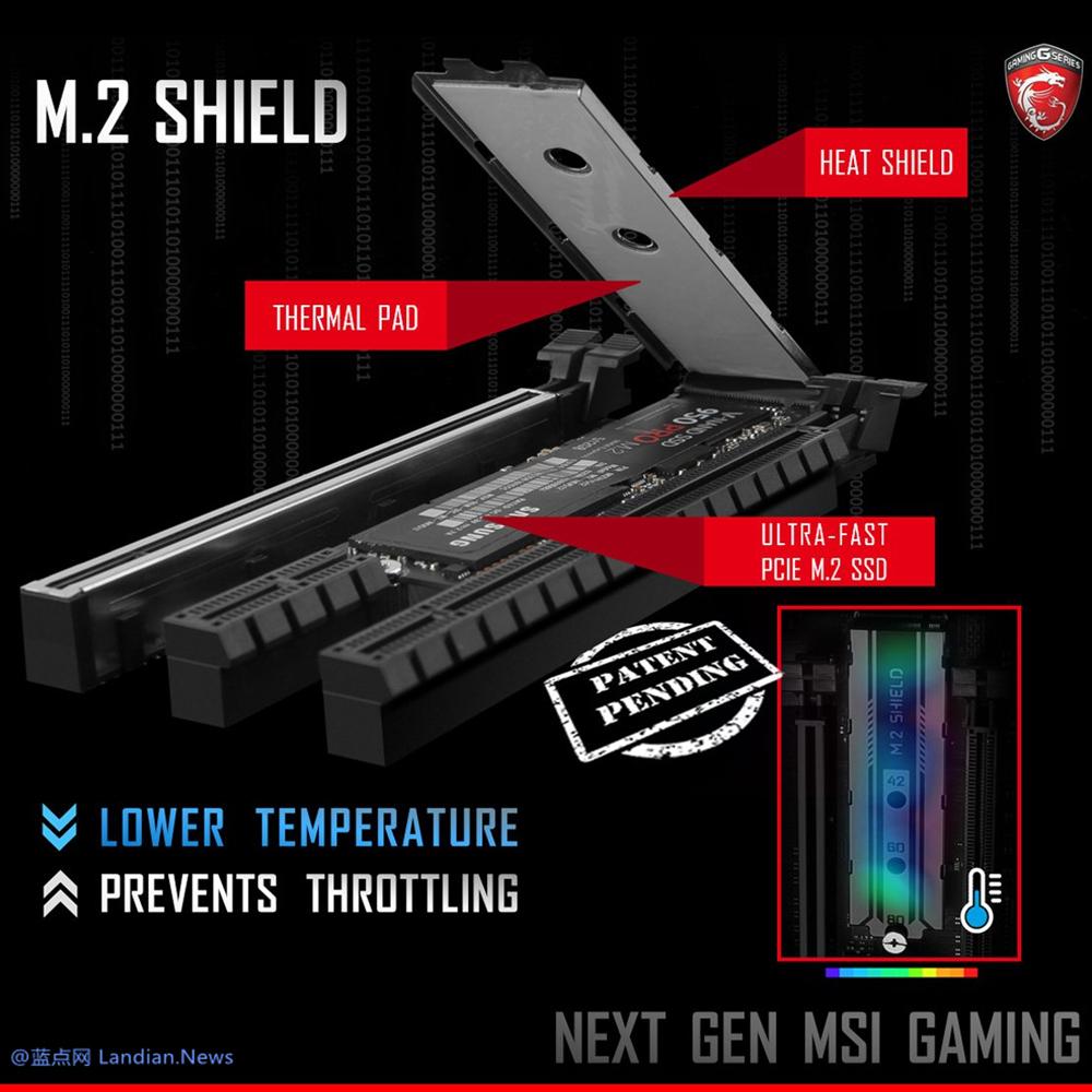 微星正在研发M.2固态硬盘专用的散热器M.2 SHIELD