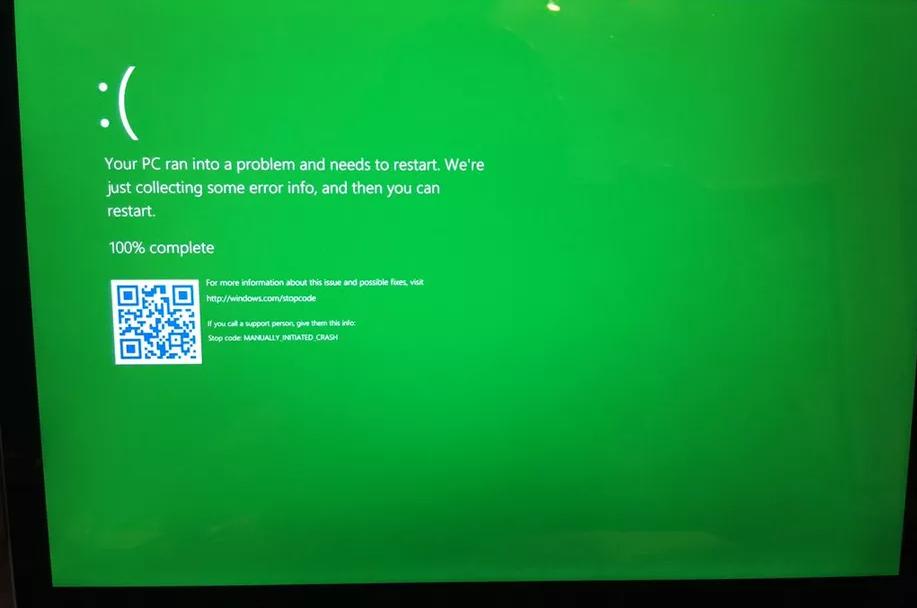 微软把Windows 10的蓝屏改成了绿屏 但不清楚有什么用