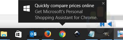 微软开始弹窗推荐Google Chrome用户安装自家的购物助手