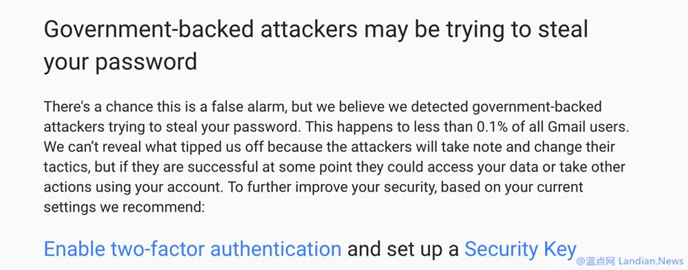 谷歌继续发布安全公告提醒用户注意钓鱼攻击