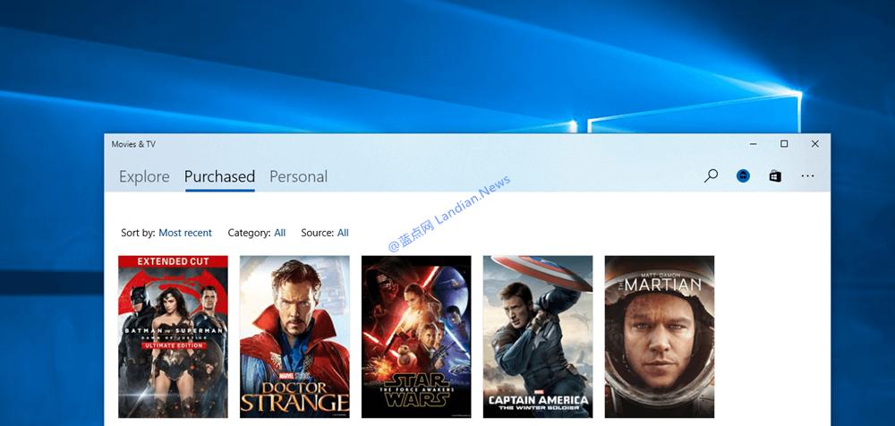 微软更新Movie&TV应用也增添了毛玻璃效果