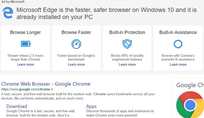 谷歌浏览器推送广告指导用户将自己设置为默认浏览器