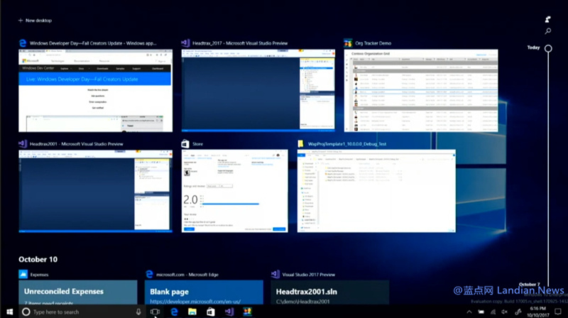 Windows 10 Preview Build 17005版将增添时间线功能