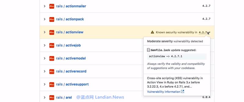 源代码托管服务GitHub现已开始提示依赖关系中的漏洞