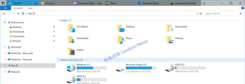 Windows 10 Version 1809测试版现已上线UWP标签页功能