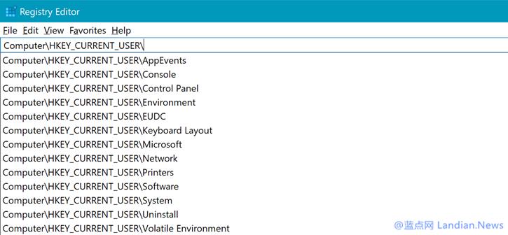 微软继续改进Windows 10注册表编辑器新增联想下拉