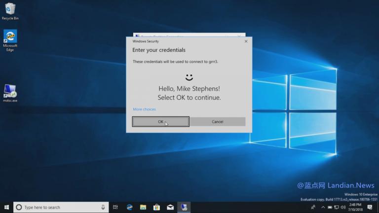 Windows 10后续版本将支持生物识别技术登录远程桌面