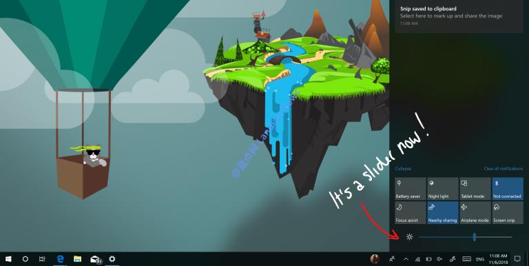 微软改进Windows 10通知中心 可快速滑动调节亮度