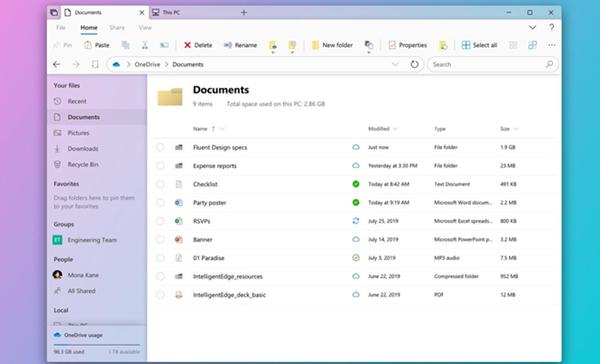 微软将在 Windows 10X 版里默认使用更现代化的文件资源管理器