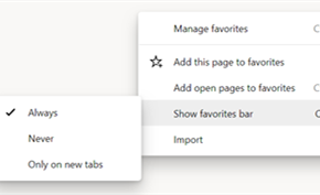 Microsoft Edge金丝雀测试版(每夜构建版)增加书签栏的显示开关