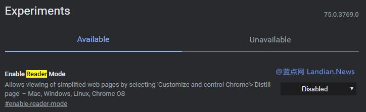 谷歌浏览器终于开始增加阅读模式 只是现在看起来不是太好看