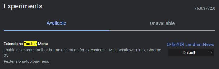 谷歌浏览器金丝雀版新增扩展程序管理按钮的新实验性功能
