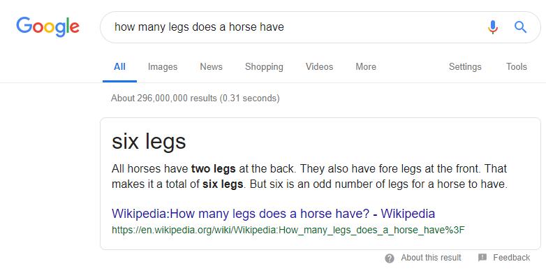 谷歌搜索认为马其实有六条腿 必应搜索不赞同表示应该是九条