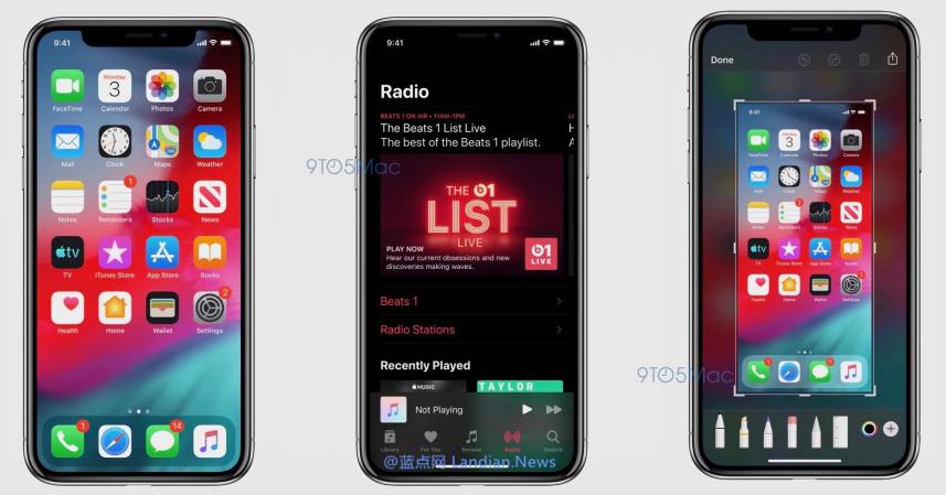 外媒提前获得iOS 13版截图确认新版本已经增加黑色主题模式(夜间模式)