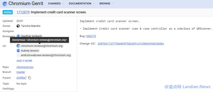 iOS版谷歌浏览器正在添加新代码方便用户扫描自动识别信用卡卡号