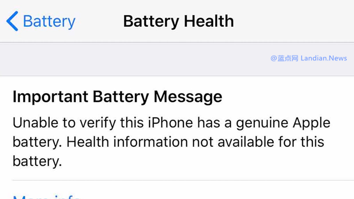 苹果开始检测设备是否是原装电池 如果非原装电池则不显示电池健康