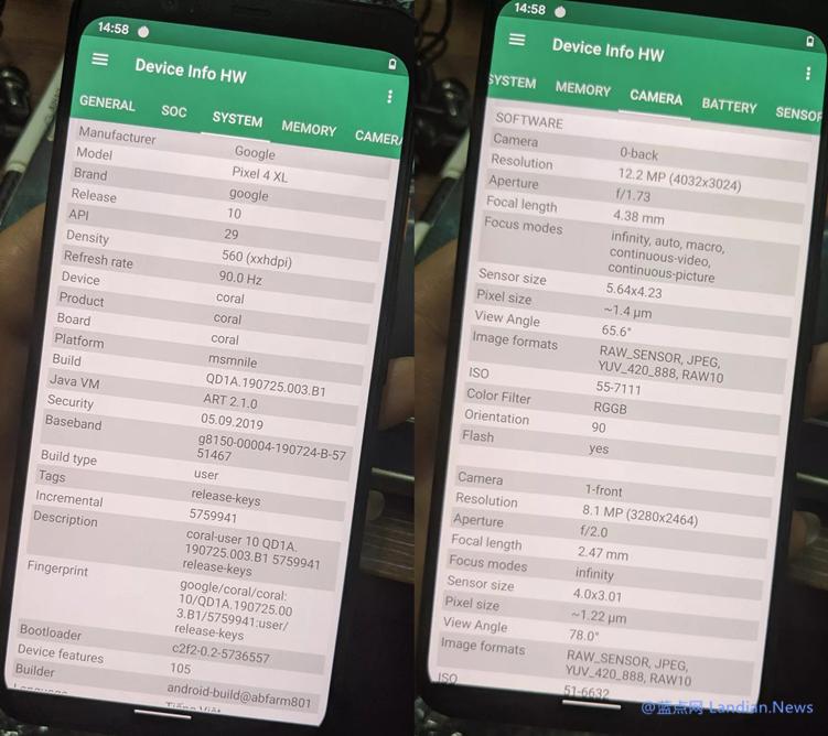 尽管还未正式发布但Google Pixel 4的真机硬件检测信息已经完全泄露