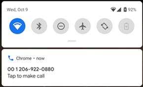 谷歌浏览器测试版支持在PC上复制号码并操作关联安卓设备进行拨打