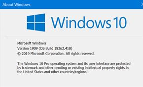 微软开始向发布预览通道提供Windows 10 Version 1909正式版更新