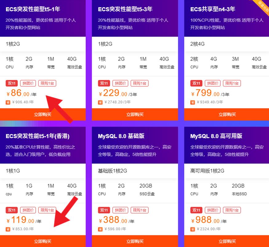 免备案香港服务器之阿里云双11活动款 比轻量机/学生机更便宜的服务器