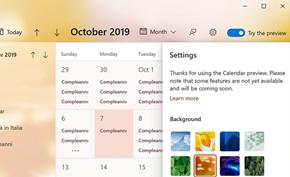 微软向Windows 10测试版用户推出日历预览项目可自由进行切换