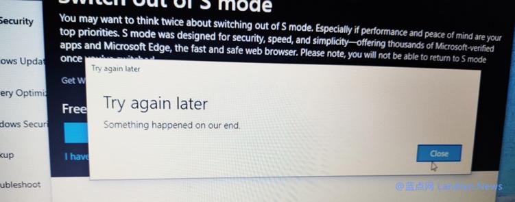 微软正在解决部分Surface Laptop用户遭遇的无法退出S模式的故障
