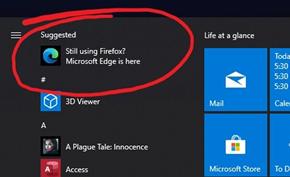 微软在开始菜单里针对火狐等用户推送广告推荐Microsoft Edge浏览器