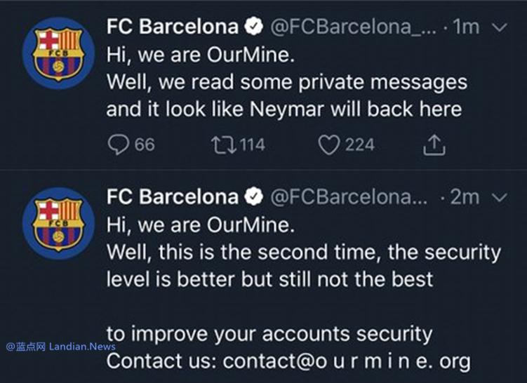 黑客团队OurMine又将奥运会和巴塞罗那足球俱乐部的官方推特黑了