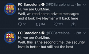 黑客团队OurMine又将奥运会和巴塞罗那足球俱乐部的官方推特给黑了