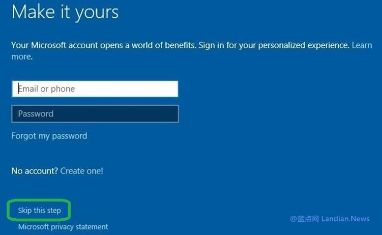 微软继续调整引导策略诱导用户在Windows 10安装阶段使用在线账户