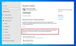 微软正在测试通过系统更新提醒用户尽快升级到Windows 10受支持的版本