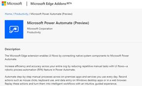 微软在浏览器商店发布Microsoft Power Automate自动化工具预览版