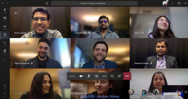 Microsoft Teams将在晚些时候支持远程视频会议的3 x 3实时画面显示