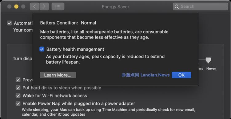 苹果已经推出新的电池健康管理功能优化和延长MacBook电池寿命