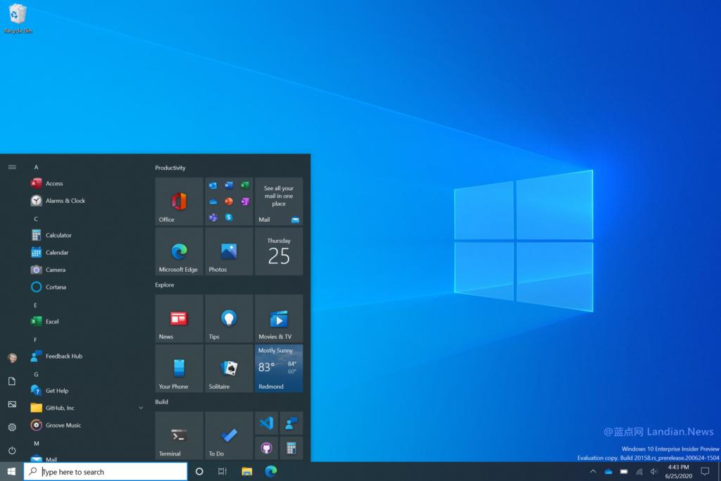 微软终于发布Windows 10新版开始菜单,删除动态磁贴换成主题感知磁贴