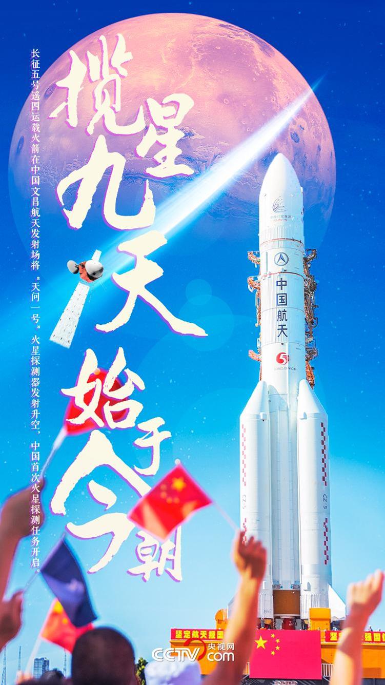 中国首次火星探测任务天问一号火星探测器已在文昌发射中心顺利升空