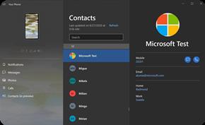 微软继续更新「你的手机」应用 带来联系人模块并支持电脑发文件到手机