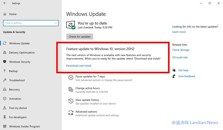 RTM版在即!Windows 10 20H2版已经推送至发布预览通道进行测试